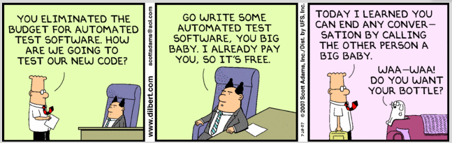 Software Testing on Dilbert